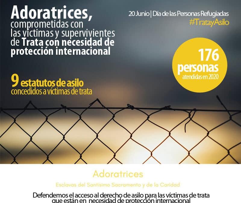 Adoratrices acompañó en 2020 a 176 personas víctimas de trata con necesidades de protección internacional, 9 de las cuales obtuvieron la concesión del estatuto de asilo